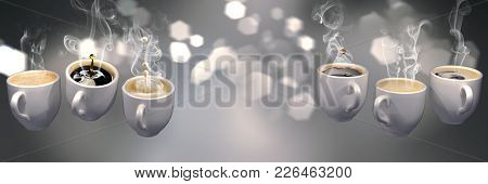 3d Lots Of Coffee Cups Floating In Zero Gravity. Soft Slightly Pink Abstract Background With Blurred