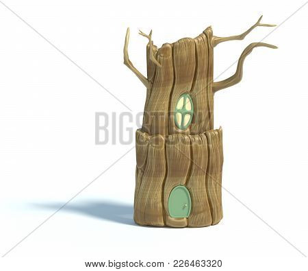 3d Rendering Of Cartoon Tree House Isolated On White Background. Stylized Squirrel Burrow, Home Insi