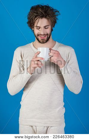 Man With Disheveled Hair Drink Mulled Wine. Cold And Flu, Single. Insomnia, Refreshment And Energy.