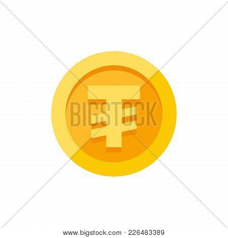 Mongolian Tugrik Currency Symbol On Gold Coin, Money Sign Flat Style Vector Illustration Isolated On