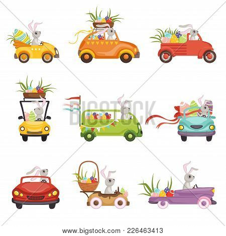 Cute Little Bunnies Driving Vintage Car Decorated With Colored Eggs Set, Funny Rabbit Characters, Ha