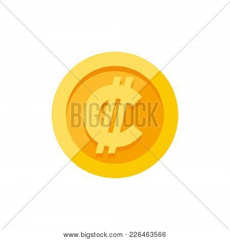 Costa Rican And Salvadoran Colon Currency Symbol On Gold Coin, Money Sign Flat Style Vector Illustra