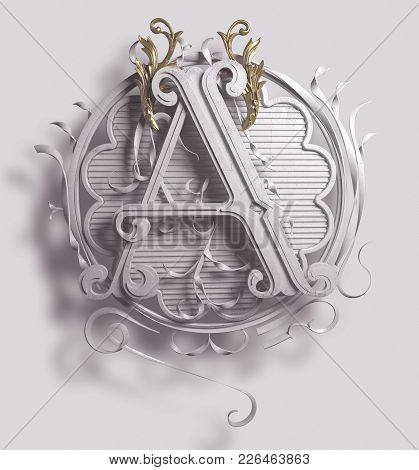 3d Classic Capital Letter A With Decorative Ornamental Frame. Premium Calligraphic Label Design. Upp