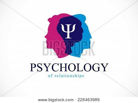 Relationship Psychology Concept Created With Man And Woman Heads Profiles, Vector Logo Or Symbol Of