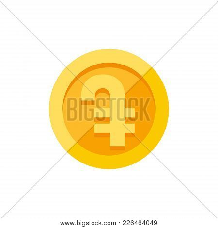 Armenian Dram Currency Symbol On Gold Coin, Money Sign Flat Style Vector Illustration Isolated On Wh