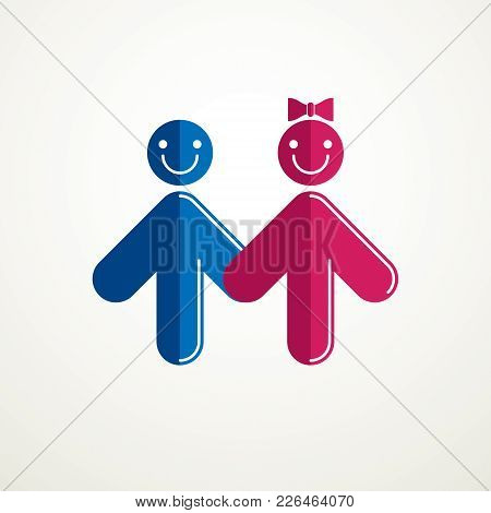 Happy Couple Simple Vector Logo Or Icon Created With People Geometric Signs In A Shape Of Arrows. Te