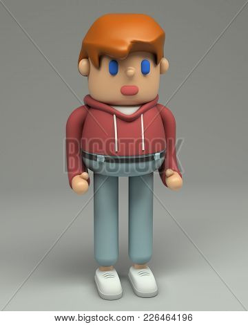 3d Rendering Of Redhead Young Man In T-shirt, Red Hoodie, Jeans And Sneakers. Cartoon Stylized 3d Ch