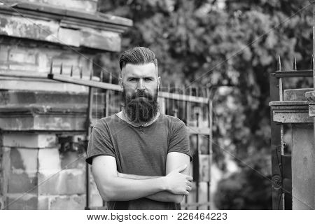Handsome Young Stylish Hipster Man With Long Beard In Grey Shirt Standing Outdoor Near Building With