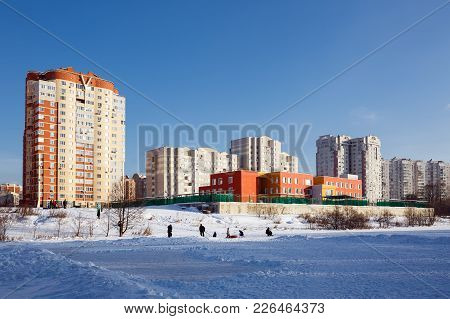New Residential Homes With Kindergarten On The Bank Of The River Pekhorka. City Of Balashikha, Mosco