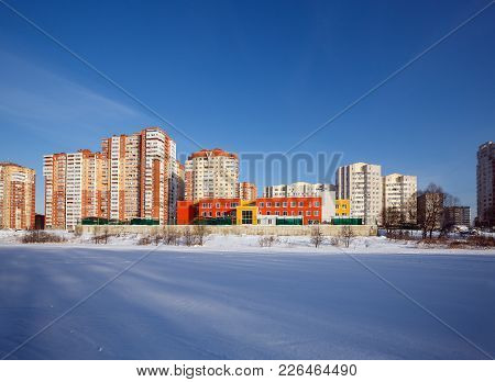A New Residential District With Kindergarten On The Banks Of The River Pekhorka. Balashikha, Moscow