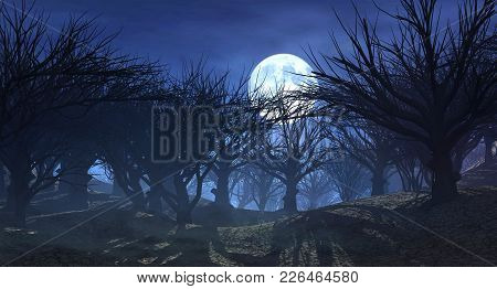 3d Rendering Of Enchanted Dark Forest In The Moonlight. Fantasy Landscape With Dried Dead  Trees Wit