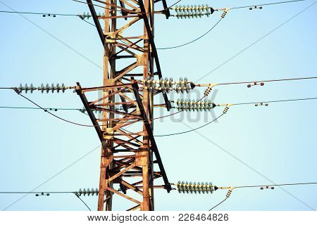 Mast Of The Electrical Transmission Line With Ceramic Insulators. Russia.