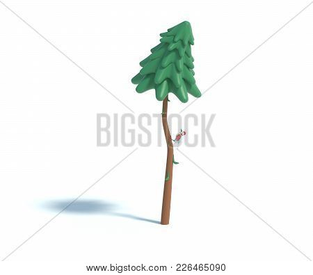 3d Rendering Of Cartoon Fir Tree.simple Green Pine Tree With Shadow Isolated On White Background. Se