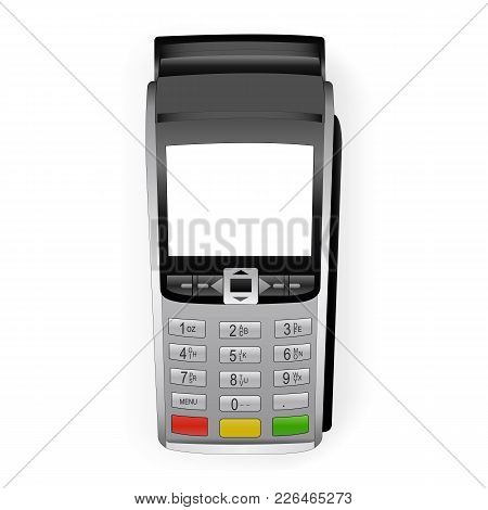 Payment Terminal Mockup - Top View. Pos Terminal With Blank Screen Isolated On White Background. Vec