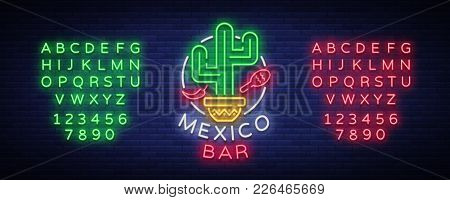 Mexican Bar Is A Neon-style Logo. Neon Sign, Design Template On Mexican Food. Bright Glowing Banner,