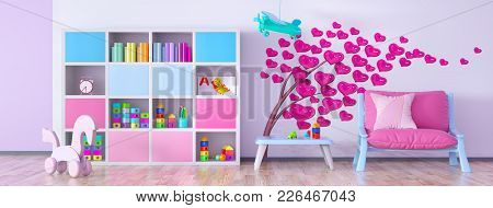Interior Of Children Room With Armchair And Bookcase 3d Rendering