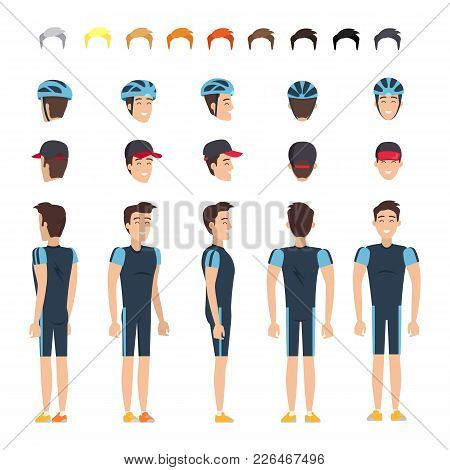 Bicyclist In Elastic Clothes Constructor With Spare Heads In Cap And Helmet, Palette Of Hair Colors