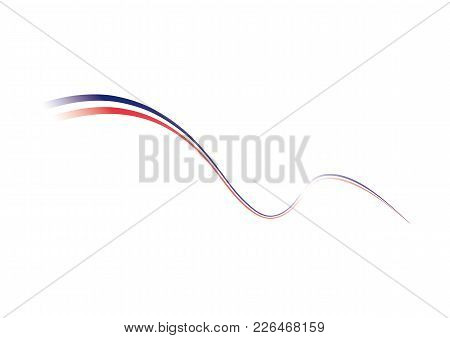 French Flag, Tricolor. Stylized French Flag. Vector Illustration White Background