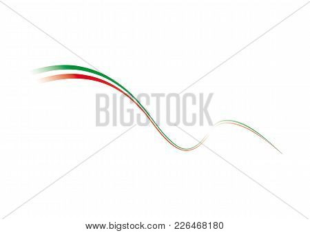 Italian Flag, Tricolor, Stylized. Vector Illustration White Background