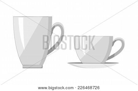Two White Cups, Bright Banner, Vector Illustration Of Various Build Bowls With Curved Handles, Light