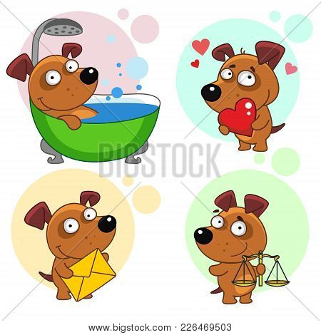 Fifteenth Set With Dog Icons For Design. Illustration Of A Dog Sitting In The Bathroom And Being Was