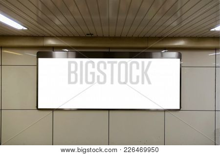 Big Blank Advertising Billboard Or Light Box Showcase On Wall At Airport Or Subway Train Station, Co