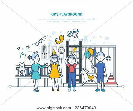 Kids Playground. Little Children, Friends, Have Fun, Play On Playground.