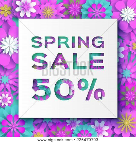 Origami Pink Spring Sale Flowers Banner. Paper Cut Floral Card. Spring Blossom. Happy Womens Day. 8