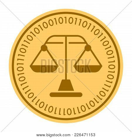 Weight Scales Golden Digital Coin Icon. Gold Yellow Flat Coin Cryptocurrency Symbol. Coin Isolated O