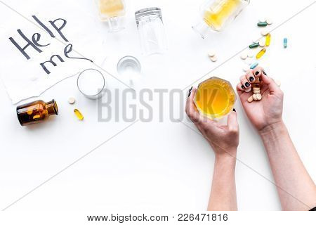 Alcohol Abuse. Drunkennes. Words Help Me Near Glasses And Bottles On White Background Top View.