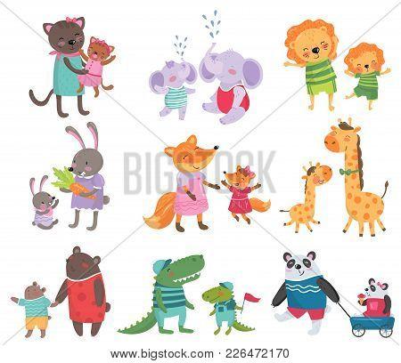 Cartoon Set Of Cute Animal Family Portraits. Cats, Elephants, Lions, Bunnies, Foxes, Giraffes, Bears