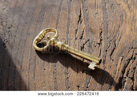 A Single Brass Key On Dark Wood Background