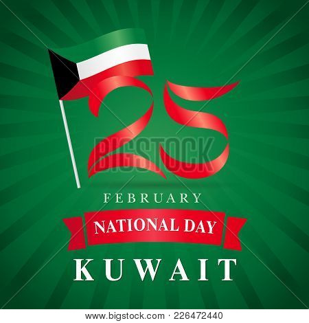 25 February Kuwait National Day Flag Banner Green Beams. Happy National Day Kuwait Poster, Flag In N