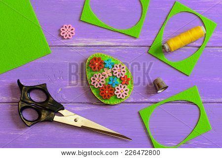 Felt Easter Egg Crafts. Felt Easter Egg Decor With Colorful Wooden Flower Buttons. Felt Scrap, Sciss