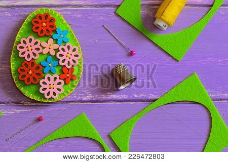 Flower Felt Egg Decoration. Felt Easter Egg With Multi-colored Wooden Flowers Buttons. Felt Scrap, T