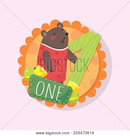 Colorful Round Emblem With Cute Bear And Number 1 One . Original Illustration For Kids Learning To C