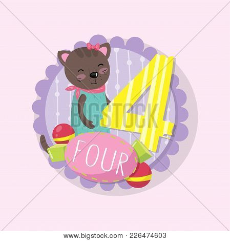 Round Emblem With Adorable Kitten And Number 4 Four . Colorful Education Flash Card For Preschool Ki