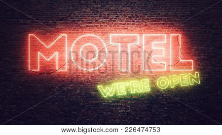 Motel Neon Sign Mounted On Brick Wall, Conceptual 3d Render Illustration