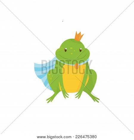 Cartoon Frog Prince With Golden Crown And Blue Mantle. Green Toad With Yellow Belly. Character Of Ch