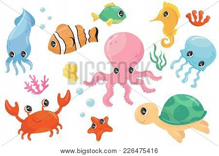 Colorful Collection Of Various Sea Creatures. Cartoon Fish, Seahorse, Turtle, Crab, Jellyfish, Octop