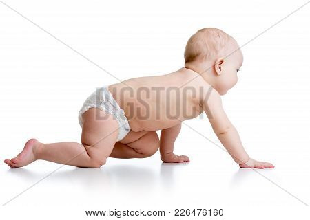Side View Of Pretty Crawling Baby Isolated On White