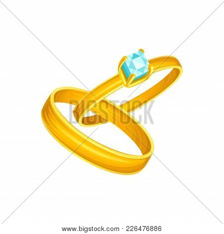 Wedding Or Engagement Two Golden Rings, Simple Classic Design For Groom And Decorated With Diamond F