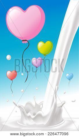 Love Heart Shape Colorful Valentines Balloon Cartoon Fly On Blue Sky Over Milk Splash Design - Vecto
