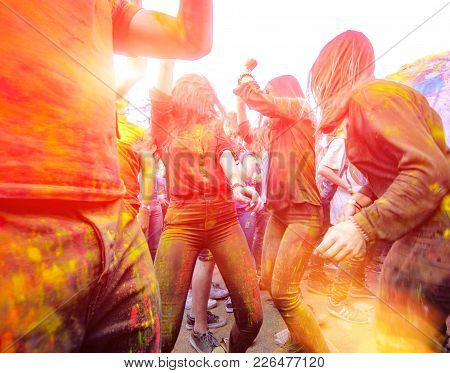 Girls Are Dancing On Holi Celebration 9 September 2017 Moldova Chisinau Darwin Color Fest
