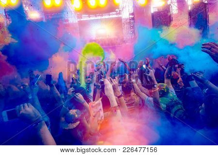 Raised Hands In Front Of The Stage On Holi Celebration 9 September 2017 Moldova Chisinau Darwin Colo