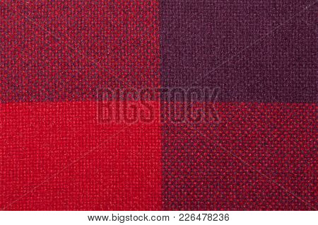 Textured Fabric With A Pattern Of Squares Of Shades Of Red