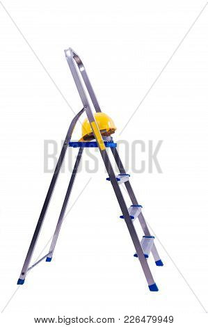 Open-work Ladder With Yellow Helmet For Housework.