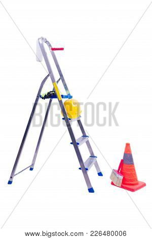 Open-work Ladder With Yellow Helmet For Housework. Orange Safety Pin And Work Gloves.