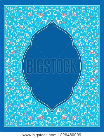 Islamic Style Brochure, Flyer Design, Flower Elements And Ornament. Card For Cafe, Restaurant, Shop,