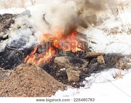 Winter, A Lot Of Snow. The Peat Is Burning Underground. Next To Residential Buildings.